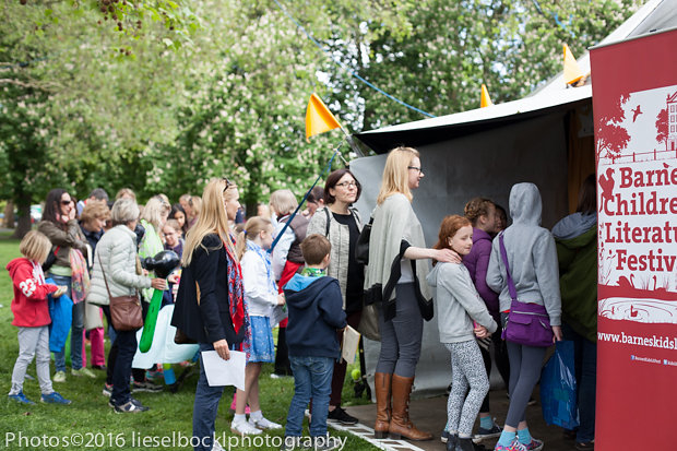 The queues for Lauren Child and David Mackintosh snaked around the tent