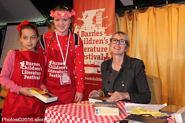 Lauren Child with volunteers