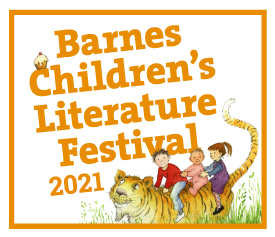 Barnes Childrens Literature Festival 2021 logo with Helen Oxenbury illustration of tiger and children