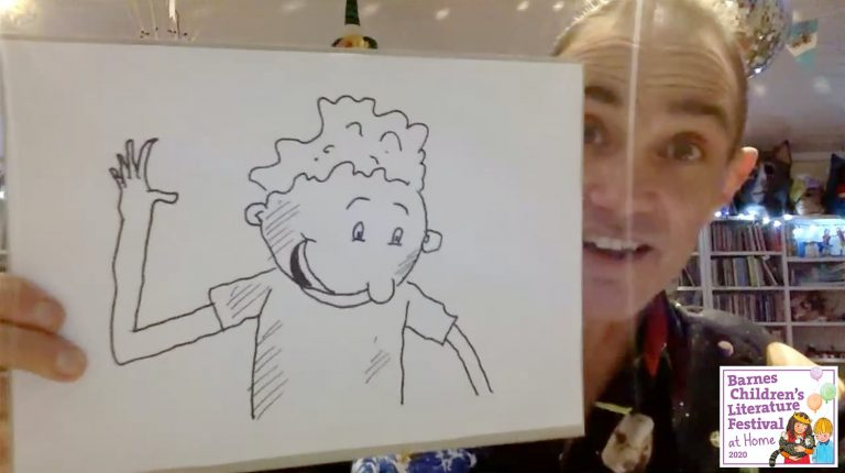 Andy Griffiths with his drawing