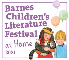 barnes festival logo with mog the cat and children