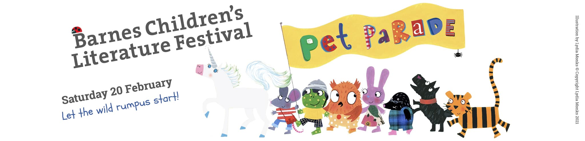 Barnes Pet parade logo with Lydia monks animals