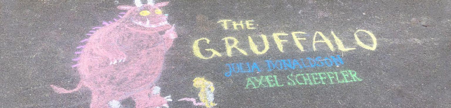 chalk art of the gruffalo