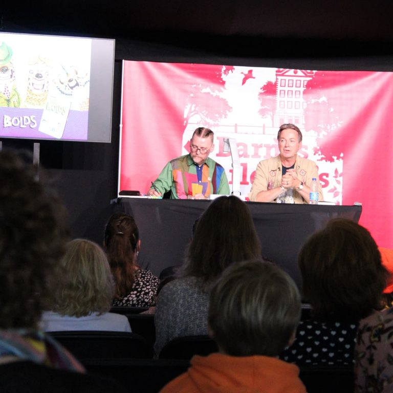 David Roberts and Julian Clary at barnes festival
