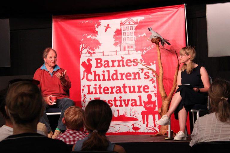 Sir Michael Morpurgo talking at barnes festival