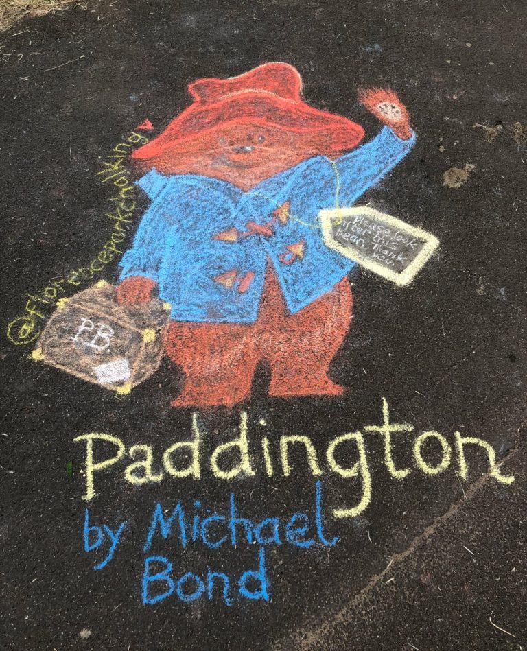 chalk art of paddington bear