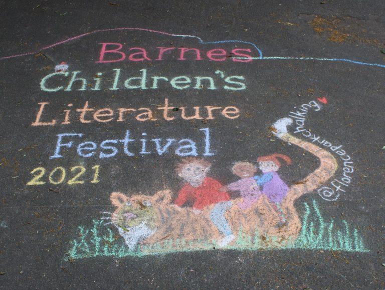 chalk art saying barnes kids festival