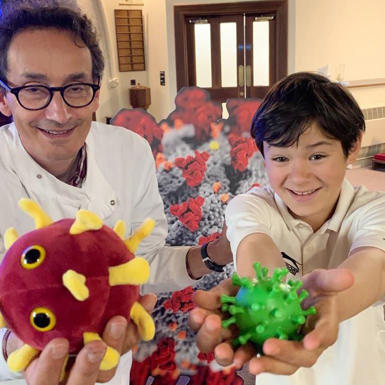 professor solomon with covid toys