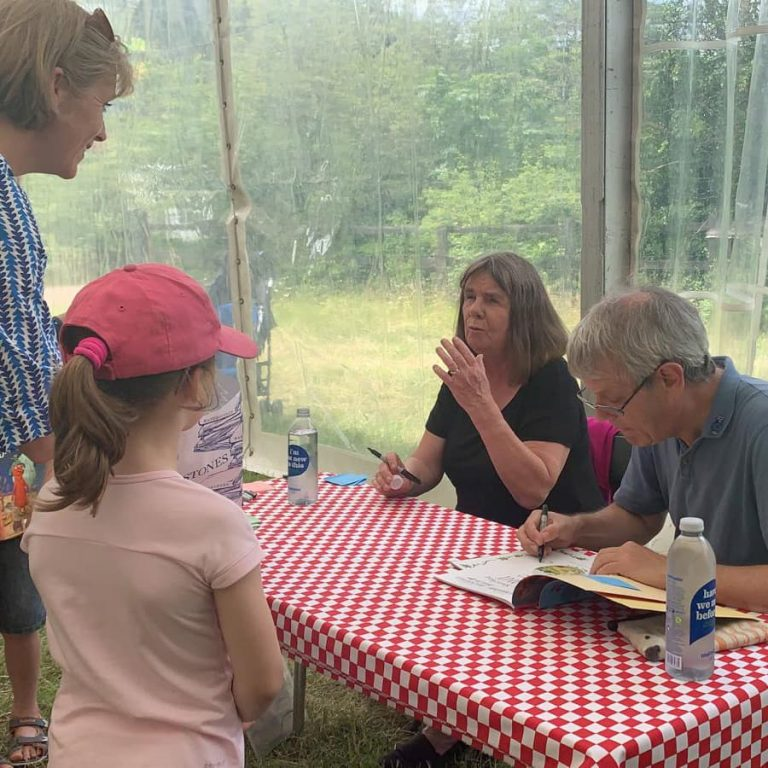 julia donaldson and axel scheffler with fans at barnes festival