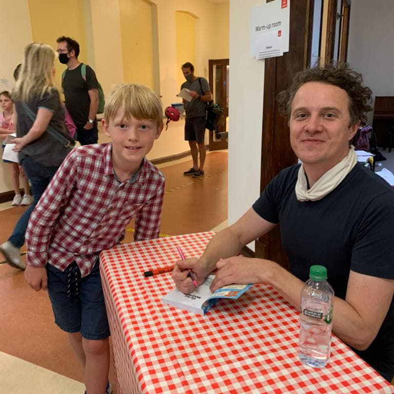 alex milway with fan at barnes festival