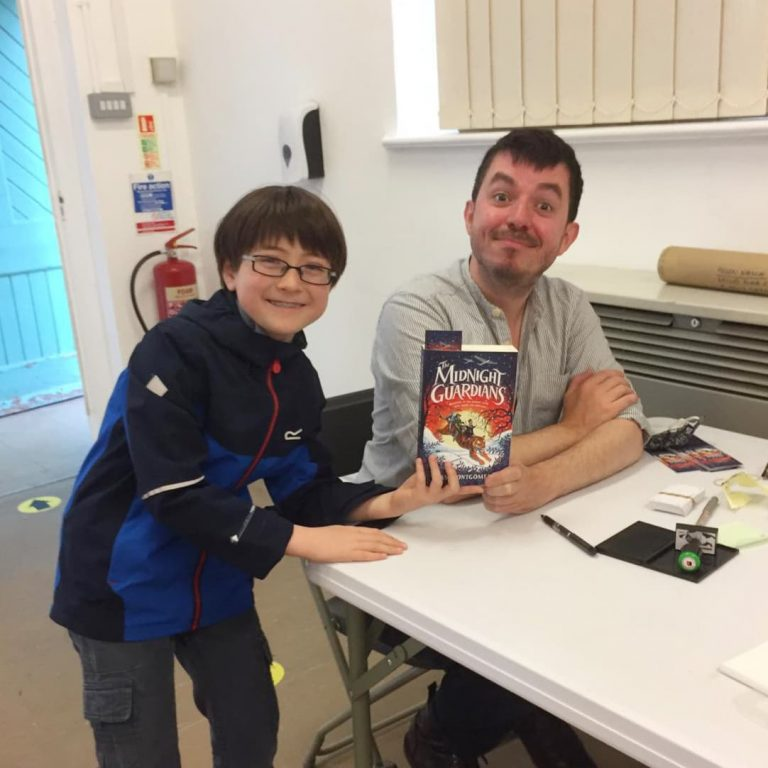 ross montgomery with fan at barnes festival